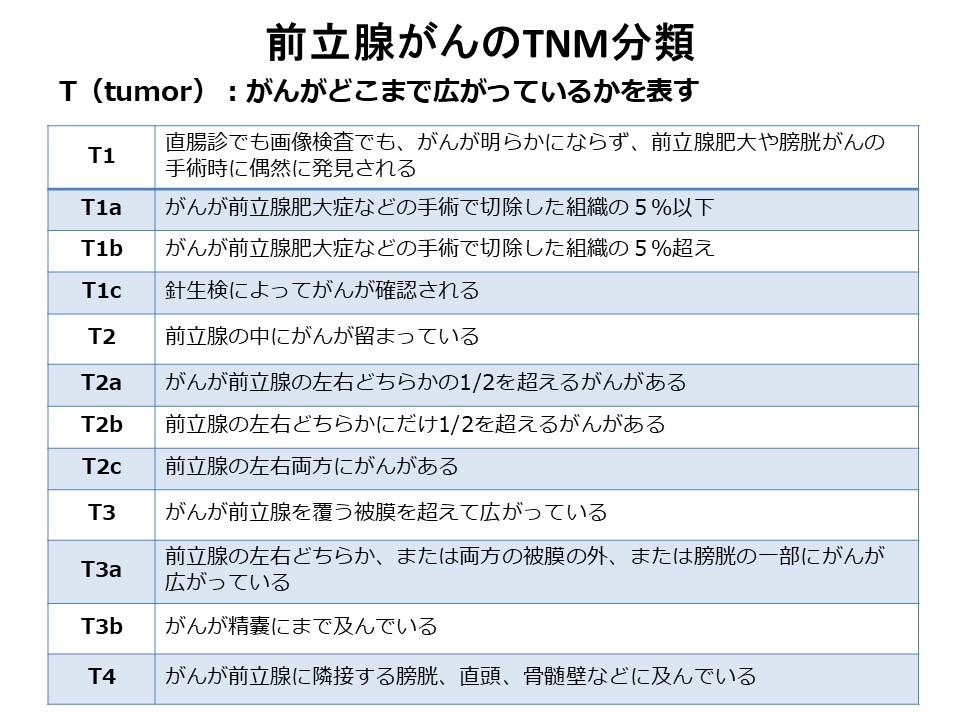 前立腺がんのTNM分類